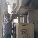 Aircon Compressor Cleaning with High Pressure Water Jet